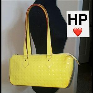 💛Arcadia Patent Leather Chartreuse Yellow Handbag